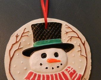 Sculpey Clay Snowman Ornament
