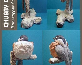 Chubby Chickadee - Black-capped Chickadee in Winter - Sally Blanchard's Tongue-in-Beak Clayworks