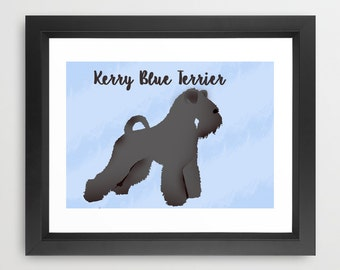 Kerry Blue Terrier Silhouette Print -  print, black and gray, Kerry Blue Lover, Gift Ideas for dog owners