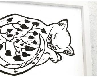 Black Cat print-sleeping kitten illustration-Black Cat graphic-original linocut-linocut