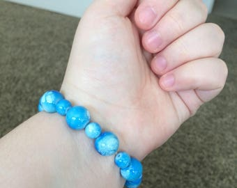 Blue Splash Beaded Bracelet