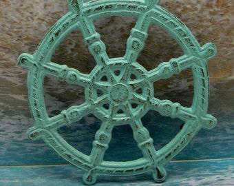 Ships Wheel Captain Sailors Helm Wheel Cast Iron Trivet Hot Plate Beachy Light Blue Distressed Shabby Cottage Chic Nautical Coastal Decor