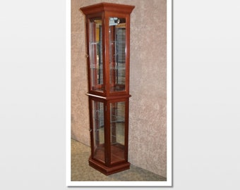 Traditional Shaped Two Door Lighted Curio Cabinet