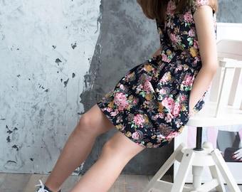 READY TO GO, size S, Casual dress, Midi dress, Birthday dress, Floral dress, vintage dress, summer dress, Cotton dress, dresses, boho dress