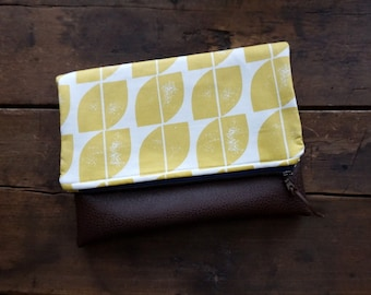 Large Fold Over Clutch Bag - Yellow Modern Print with Brown Vegan Leather Bottom,  Yellow Zipper Clutch, Foldover Clutch Bag