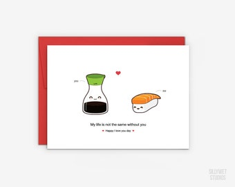 Cute Salmon Sushi and Soy Sauce Love Card, Valentine's Day Card, Anniversary Card, I Love You Day Card