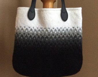 Black ombre wool felt tote bag