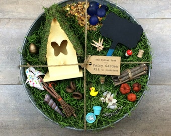 Fairy garden kit with container, DIY, Yellow, Turquoise, Pink or Purple Butterfly fairy house, weathered galvanized washtub