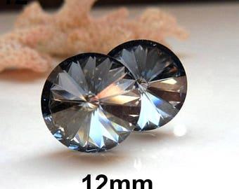 12mm Crystal Blue Shade (Steel Blue) Swarovski Rivoli Rhinestone Stud Earrings- Blue Crystal Studs-Large Crystal Studs-Large Rivoli Studs