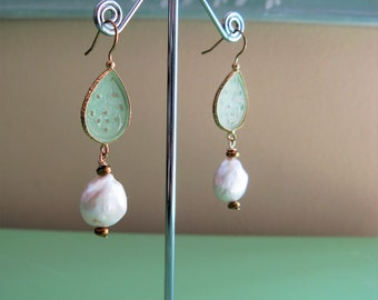 Carved Jade Earrings, Light Green Jade Earrings, Jade & Pearl Earrings, Asian Style Earrings, Asian Inspired Earrings, Pearl Earrings
