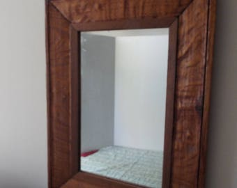 "Rustic reclaimed  wooden wall mirror rectangular primitive mirror  17"" x 24"""