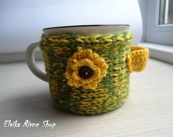 Mother's day gift Easter gift Wool yellow mug sleeve Knitted coffee cup sweater Mug warmer Travel cup holder Cup wool sweater Green wool
