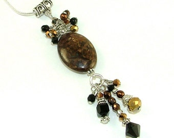 "MAJOR MARKDOWN - Rich and Dramatic Crystal Cluster and Tassels on Bronzite Stone Pendant with 16"" Silver Plated Snake Chain Set"