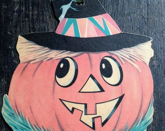 Vintage Halloween Jolly Jack O Lantern Die Cut Scarecrow Pumpkin Witches Hat Old Autumn Harvest Fall Decor Display Collectible