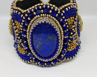 Lapis lazuli Bead Embroidered Cuff