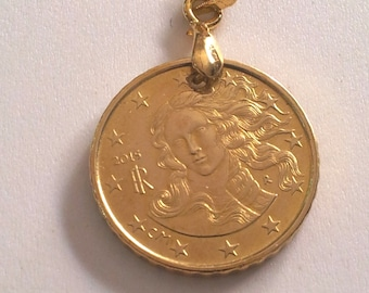 Italy Coin Pendant made from Genuine 2015 10 Eurocent Coin.the birth of Venus.Sandro Botticelli.Florence.Diam.mm. 20. 3th Birthday. art.394