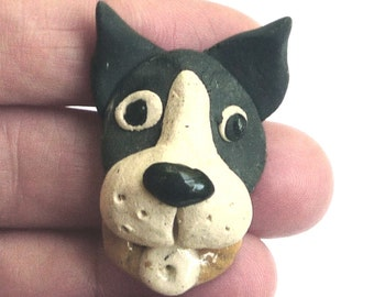 Boston Terrier Bull Dog Jewelry Pin Brooch Black and White Puppy Pet Lover Stoneware by sugargrovepottery on etsy