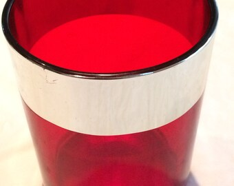 """Vintage Red Glass with Silver Tone Lining 5"""" x 4""""  Tall Votive Holder"""