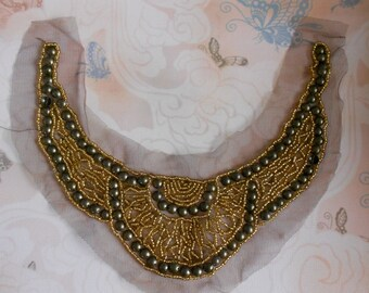 Matte Stone Gold Beaded Appliques