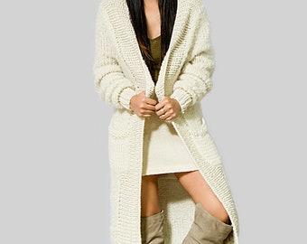 OFF SALE boho long cardigan  cardigan long loose white   loose knit long  winter long coats wool long cardigan oversized cardigan
