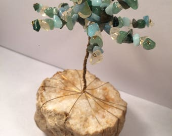 Green and Aqua Crystal Wire Tree Sculpture