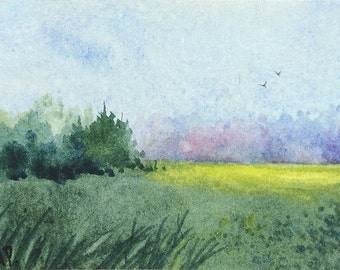 Original watercolor ACEO painting - Untamed field