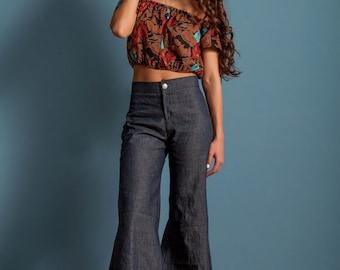 Bell bottoms, bell bottom jeans, high waist bell bottoms, wide leg pants, 70s bell bottoms, festival clothing, bohemian style, summer jeans