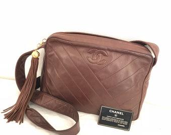 CHANEL Fringe Quilted CC  Shoulder Bag Leather brown Vintage