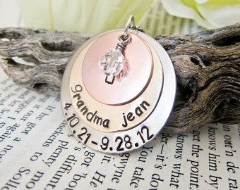 Hand Stamp Memorial Remembrance Necklace - Personalized with Birthstone Charm - Three Discs One Crystal