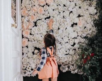 Girl's Antique Coral Suspender Skirt, Vintage Style Jumper, High Waisted Toddler Spring Skirt, Easter Skirt, School Girl,Valentine, sisters