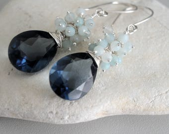 Silver earrings, Blue quartz earrings, briolettes earrings, Blue Peruvian Opal earrings, Gemstone Cluster earrings,  Sterling silver wire