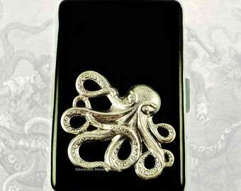 Octopus Metal Cigarette Case Inlaid in Hand Painted Enamel Steampunk Kraken Metal Wallet Custom Colors and Personalized Options