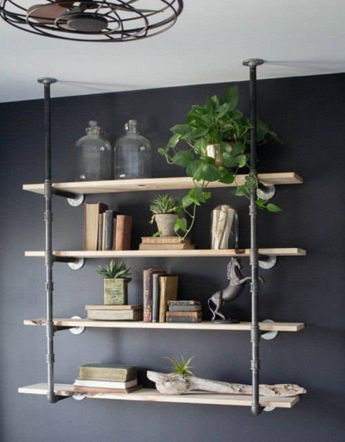 Black Pipe Bookshelf, Wall Mounted Bookshelf, Parts Kit DIY Project ...