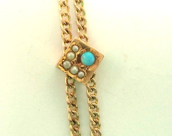 Antique Victorian Ladies Slider Watch Chain Necklace Seed Pearls Opal Slide