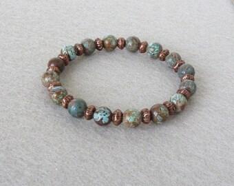 Boho Bracelet, Turquoise Bracelet, Native American Bracelet, Southwestern Jewelry, Jasper Bracelet, Stone Bracelet, Women Bracelet
