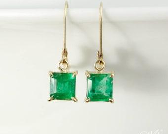 Gold Square Green Emerald Dangle Earrings - Leverback Hooks - May Birthstone Emerald