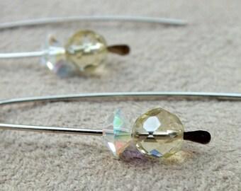 Lemon Quartz Earrings. Swarovski Crystal Modern Sterling Silver Earrings. Lightweight Earrings.