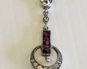 "Vintage Art Deco Sterling Silver Lavalier Pendant With Purple And Clear Paste Stones on 18"" Chain"
