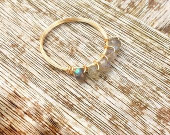 Labradorite 14k gold ring