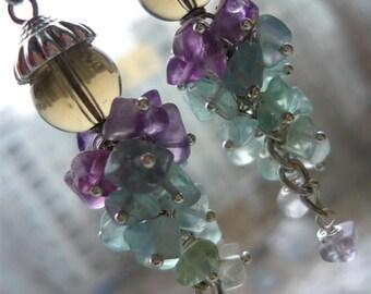Rainbow earrings Cluster earrings Gift for her Fluorite earrings Stone earrings Rainbow jewelry Gift for mom Long earrings Gift for women