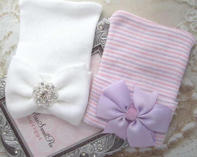 GIFT SET - Newborn or Baby Shower Gift - Two Newborn Hospital Hats, matching bows, rhinestone, bebe, beanie, baby hat, Lil Miss Sweet Pea