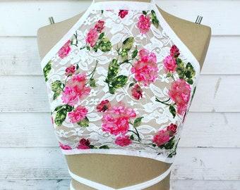 Halter top sheer floral lace crop top rave Festival wear