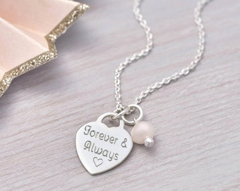 Personalised Sterling Silver Heart Charm Necklace (HBN71 / 01)