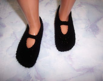 Black Hand Crochet Slip On Mary Jane Shoes For The My Size Barbie Doll