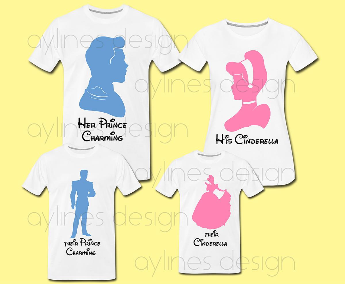 Su Cenicienta y sus Príncipe Disney estampados para camisetas ...