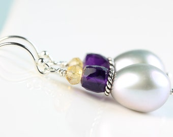 Pearl Drop earrings Dove gray Pearl with Amethyst+Citrine gemstones, Argentium Silver French hooks, dangle earings, by art4ear, gift for her