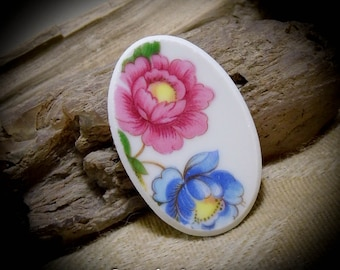 Pink Blue Flowers China Free Form Hand Cut Cabochon 41 mm 01