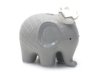 NEW Personalized Large Gray Elephant Crown Piggy  Bank Newborns , Birthday,Girls,Flower Girl,Baby Shower Gift Centerpiece