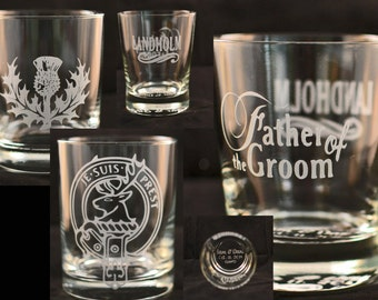 Custom etched glass whiskey / rocks glass. Bar, Wedding, Wedding Party, Graduation, Anniversary gifts - Engraved