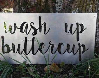 Wash Up Buttercup Metal Wall Sign